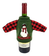 St Nicholas Square Wine Bottle Cover Warm Wishes Snowman Green Christmas Sweater
