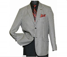Men's Stacy Adams Black White Mini Check Houndstooth Suit R 38 chest waist 32