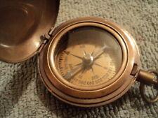 Vintage Brass Push Button Compass - Old Vintage Nautical Pocket