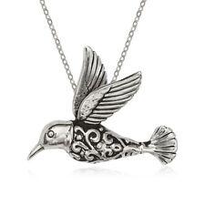 Sterling Silver Fancy Oxidized Hummingbird Pendant