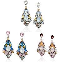 Charm Women Fashion Jewelry Rhinestone Geometric Flower Ear Stud Dangle Earring
