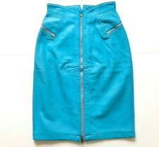 Vintage High Waist Leather Skirt XS Blue Michael Hoban North Beach USA 25W