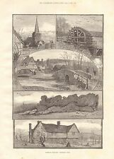 1887 ANTIQUE PRINT-KENT, SKETCHES OF EYNSFORD