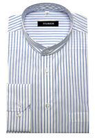 HUBER Stehkragen Hemd weiß blau gestreift HU-0027 Regular Fit, Made in EU