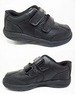 NEW Boys TIMBERLAND Black Leather 2-Strap Shoes Woodman Kids School Sale Sz. 6-2