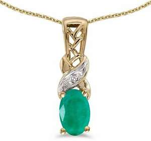 10k Yellow Gold Oval Emerald & Diamond Pendant (Chain NOT included) P2584-05