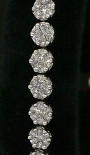 14K white gold beautiful 4.0CT diamond cluster flower link bracelet