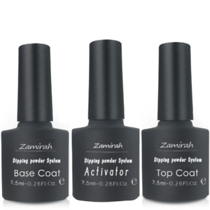 Nail Dipping Polish Zamirah Acrylic System 7.5ml Base Coat Top Coat Activator