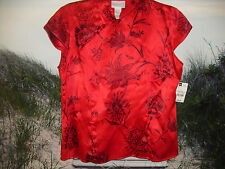 NEW Worthington Ladies L 100% Silk Red Floral Cap Sleeve Blouse