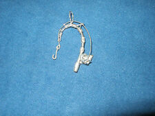 NEW STERLING SILVER NAUTICAL BENT FISHING POLE W/HOOK  PENDANT MARINE SEALIFE