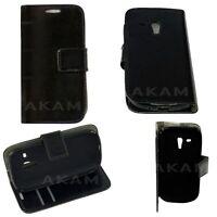 PU Leather Black Wallet Book Flip Case Cover Samsung Galaxy S3 Mini I8190 I8190N