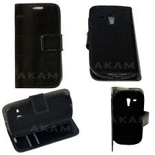 Genuine PU Leather Black Book Wallet Flip Case Cover Samsung Galaxy S3 Mini