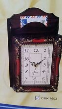 Hanging Letter And Key Holder With Clock - Walnut - Antique Style - item no 7603