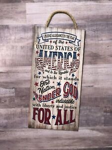 """I Pledge Allegiance to the Flag Wooden Wall sign 6""""x12"""", P167, USA, Patriotism"""
