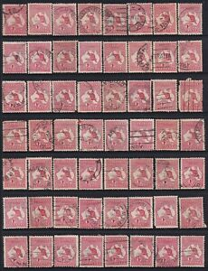 AUSTRALIA ROOS 1D REDS ON PAGE VARIOUS DIES ALL USED 56 UNITS