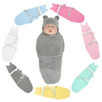 0-12M 2PCS Newborn Baby Kid Blanket Swaddle Solid Sleeping Bag Sack Wrap Hat Set