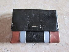 Fossil NWT Ellis PW Tab Neutral Multi Leather Small Clutch Wallet Very NICE!