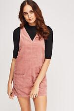Womens Mauve Pinafore Cord Patch Pocket Mini V Neck Sleeveless Tunic Pink  Dress