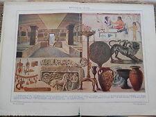 5b51492856 antica stampa da incorniciare ETRUSCA ARTE TOMBA ORECCHINI ANELLO COLLANA  MONETA