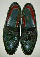 Florsheim Mens Black Wingtip Tassel Loafers Shoe Size 10.5D
