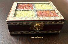 WOODEN Sheesham Wood Stone Art Work Box Stone Inlay Indian Rosewood 13 cm Wide