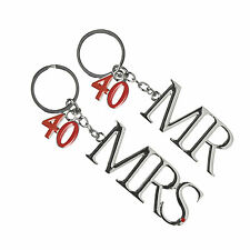 40th Ruby Wedding Anniversary Silver Plated Mr & Mrs Keyrings Gift Ideas for Her