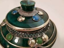 MOROCCAN HANDMADE GREEN POTTERY CANDY DISH WITH LID & JEWELED DESIGN