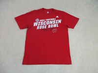 Adidas Wisconsin Badgers Shirt Adult Large Red White Football Rose Bowl Mens *