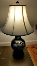 Japanese Black Table Lamp with inlaid white albacore,White shade.9