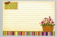 12 Longaberger Pink Flowers in Basket Multi Stripe Recipe Cards 4 x 6 in zip bag