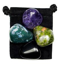 ENERGETIC BLOCKS Tumbled Crystal Healing Set = 4 Stones + Pouch + Description