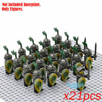 21Pcs Medieval Dragon Kingdom Red Lion Knight Minifigure Building Block DIY Toy