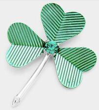 ST. PATRICKS DAY IRISH SHAMROCK CLOVER GREEN BROOCH