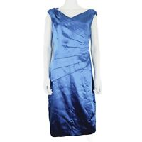 NEW Coast Ocean Blue Pencil Wiggle Jocasta Satin Party Dress UK 14 RRP £135