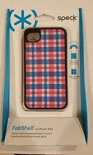 NEW! Speck Fitted Hard Case with Fabric for iPhone 4/4S - Plaid Blue/White/Pink