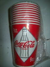 "Coca Cola 10 Pack 9oz Paper Cups Never Opened New Old Stock  ""L@@K"""