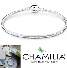 Genuine Chamilia sterling silver 925 oval clasp charm bracelet 19cm in box