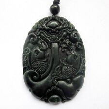 Pearl Double Fishes Amulet Pendant Black Green Jade Dragon Playing