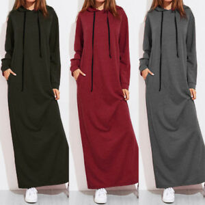 Plus Size Hooded Long Maxi Dresses Winter Women Casual Long Sleeve With Pockets