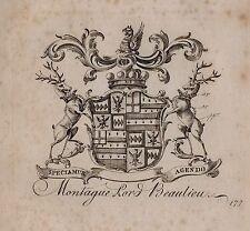 1779 ANTIQUE PRINT ~ MONTAGUE ~ FAMILY CREST COAT OF ARMS LORD BEAULIEU