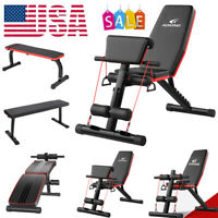Decline Adjustable Foldable Gym Sit Up Chair AB Incline Bench Flat Weight Press
