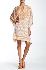 Rococo Sand Split Neck Printed & Embellished Short Kaftan Dress Sz S $414 NWT