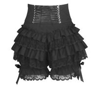 Black Gothic Steampunk Lolita Ruffle Lace Witch Pumpkin Bloomers Cotton Shorts