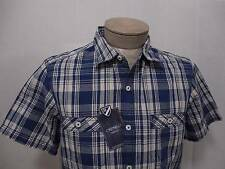 Daniel Short Stitch Polo Shirt Button Chest Pocket M Army Washed Navy Blue Check
