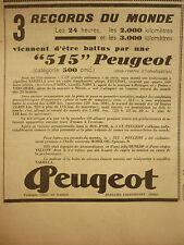 10/1934 PUB PEUGEOT BEAULIEU VALENTIGNEY MOTO 515 3 RECORDS DU MONDE MOTORRAD AD