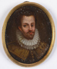 """""""Portrait of a nobleman"""", Spanish oil on copper miniature, early 17th century"""