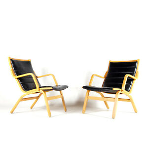 1 of 2 SOLD Retro Vintage Danish Bent Wood Leather Lounge Armchair Chair 60s 70s