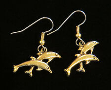 Dolphin Earrings 24 Karat Gold Plate Dolphins Porpoise Ocean Sea Fish Beach