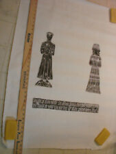 """Vintage Tombstone Brass Rubbing Medieval Lord & Lady Grave England 30"""""""