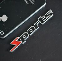 AU SPORTS 3D Metal Car Badge Emblem Sticker Red Black Color Racing 4WD 11cm
